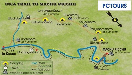 Maps cusco peru referencial map to inca trail to machu picchu publicscrutiny Image collections